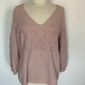 Pink oversized slouchy sweater with bubble sleeve